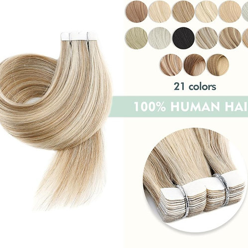 12'' 16'' 20'' Mini Tape in Human Hair Extensions Straight Seamless Invisible