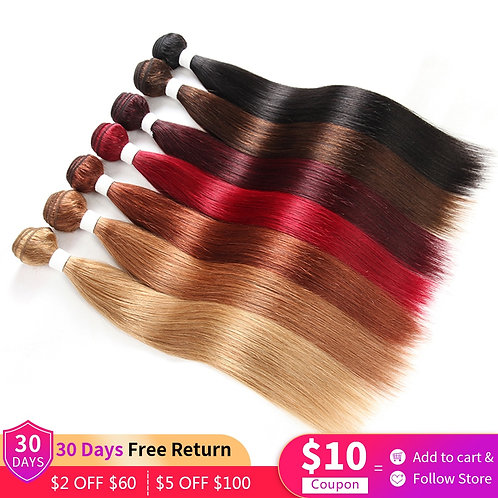 1/3 Pcs Bundles Burgundy Red Blonde 27 Brown Colored Remy Human Hair