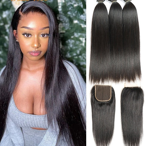 3 Bundles With Closure Remy Hair Extension Peruvian Straight Hair