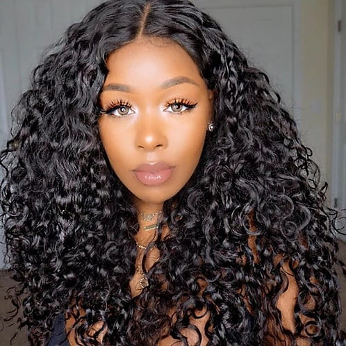 24 inches lace front deep curly wig
