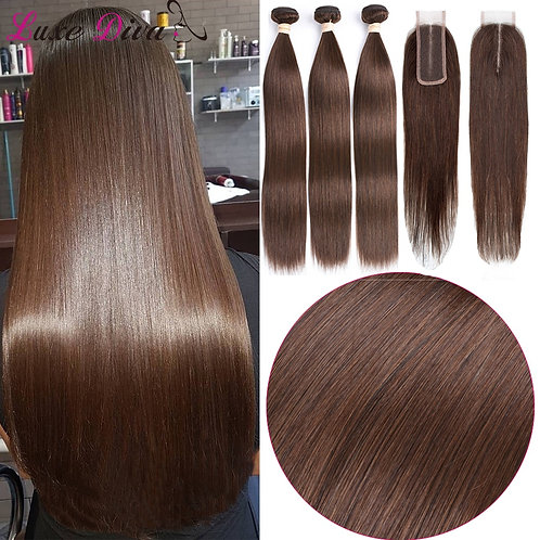 Straight Hair With Lace Closure 4x2 Brazilian Human Hair Extensions