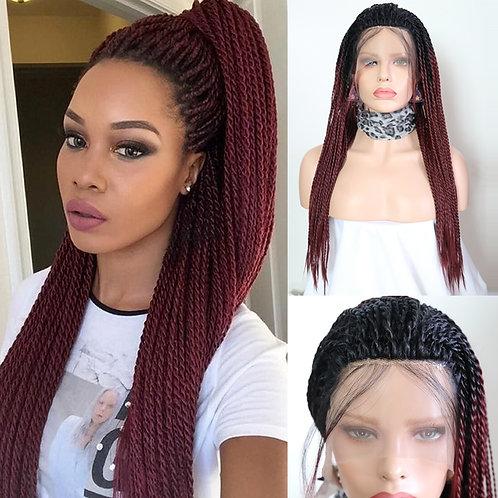 Ombre Burgundy Wigs 2X Twist Braids Braided