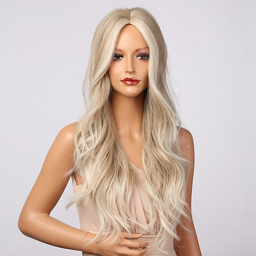 Ombre Light Brown Grey Ash Blonde White Highlight Synthetic Wig