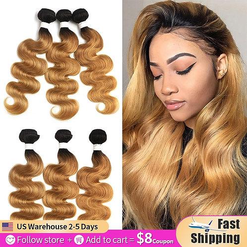Ombre Brazilian Body Wave Hair Bundles 8-26 Inch Honey Blonde Human Hair