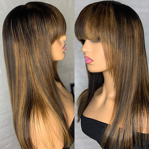 Highlight Blonde Silky Straight Human Hair Wigs With Bangs