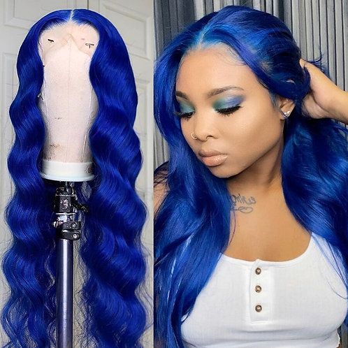 8''-26'' Long Blue Colored Lace Front Wig Human Hair Wigs With Baby Hair  150