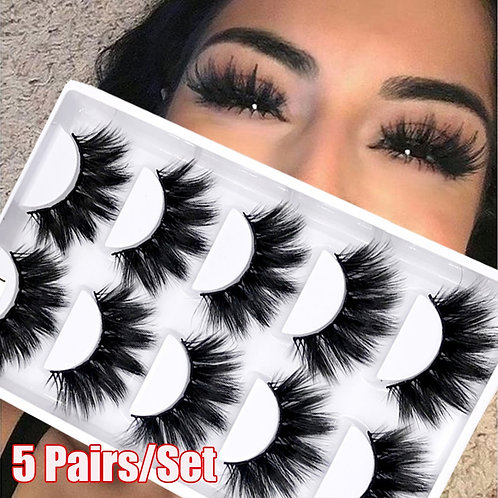 5Pairs/Set Faux Mink Hair False Eyelashes Wispy Criss-Cross Fluffy Thick