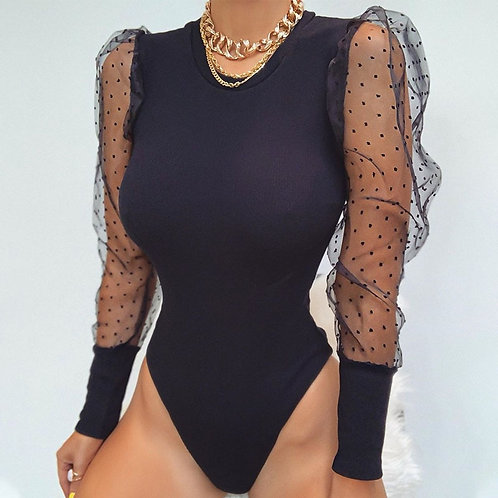 New Lace Puff Sleeve Women's Bodysuit