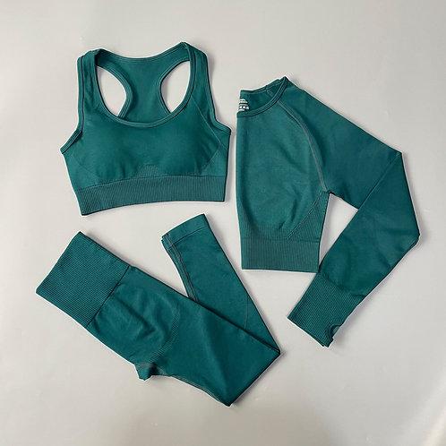 Yoga Set Seamless Gym Set Bras + Leggings + Shirts