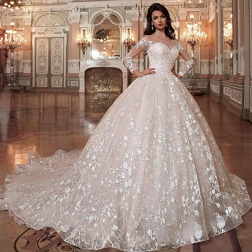Luxury Lace Ball Gown Wedding Dresses