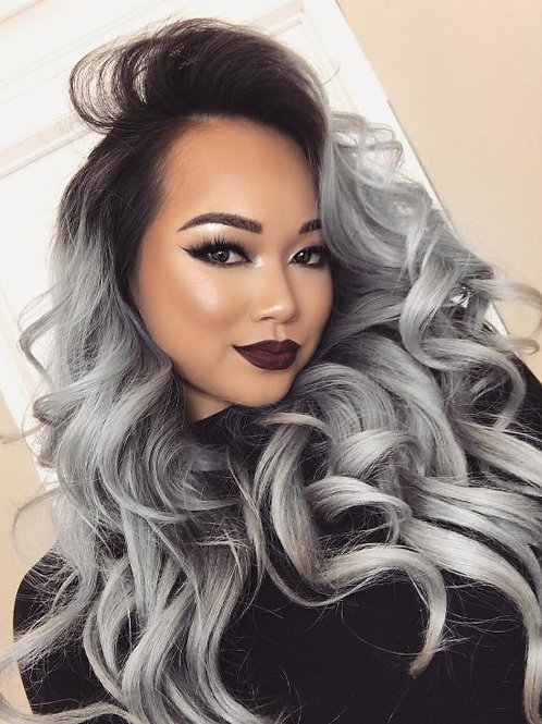 Ombre Silver Straight Hair Bundles