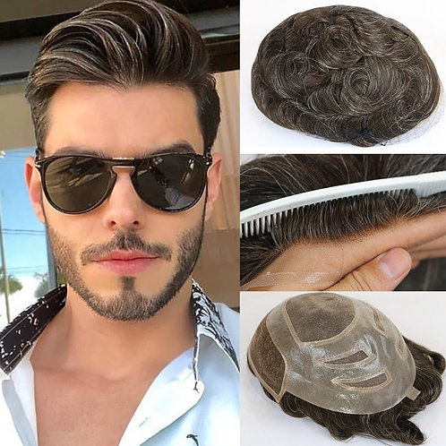 Natural Human Hair Mens Toupee French Lace Front Hair Replacement System