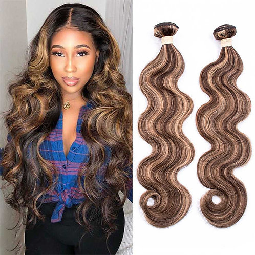 P4-27 Ombre Brown Body Wave Bundles 3/4 Bundles Remy Human Hair Extensions