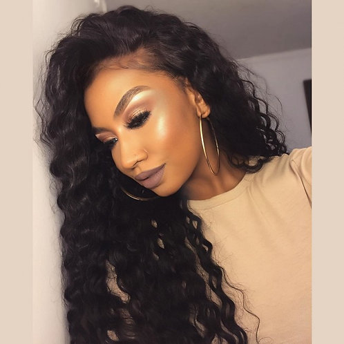 24 inches deep curly wig-lace front