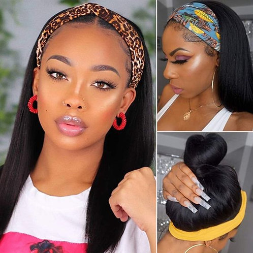 Yaki Straight Lace Front Wigs Natural Color Synthetic