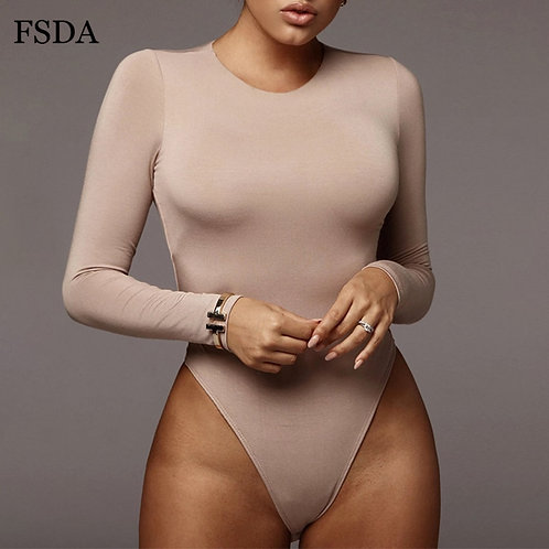 Neck Long Sleeve Solid White Sexy Bodysuit