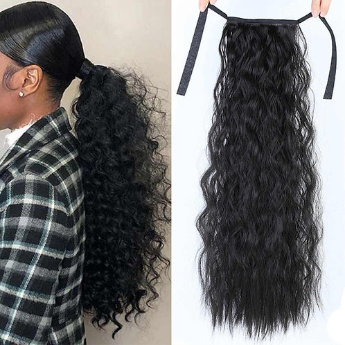 Curly Brazilian Human Hair Wrap Around Ponytail Clip