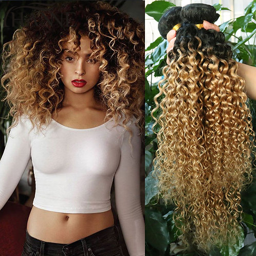 Kinky Curly Weave Ombre Brazilian Hair