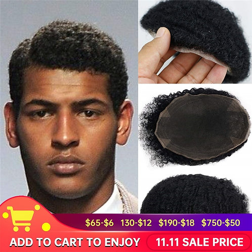 Afro Curly Men's Toupee for Black Man 100%Human Hair