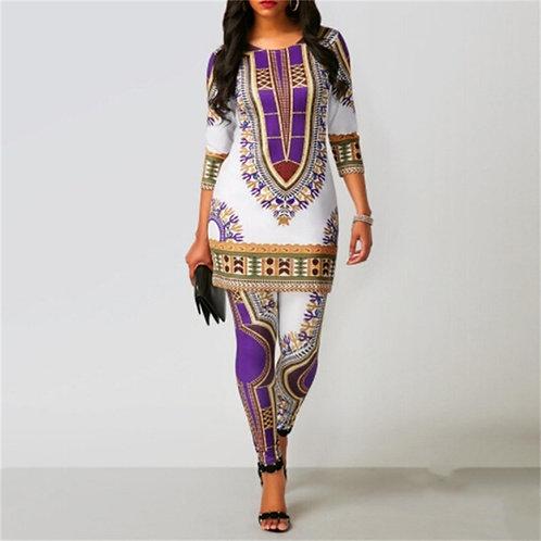 Top Pants Suit Dashiki Print Ladies Clothes Robe