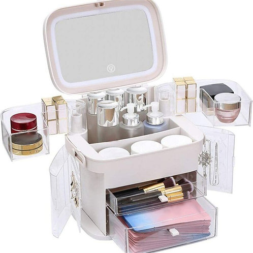 Led Light Makeup Organiser Storage,with Mirror and Light