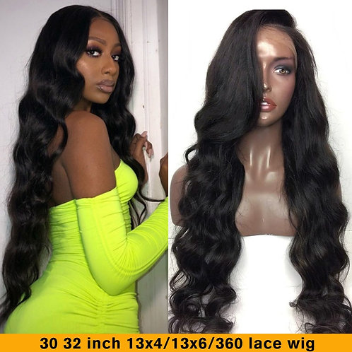 30 -32 Inch 180 Density Body Wave Wig Lace Front Wigs