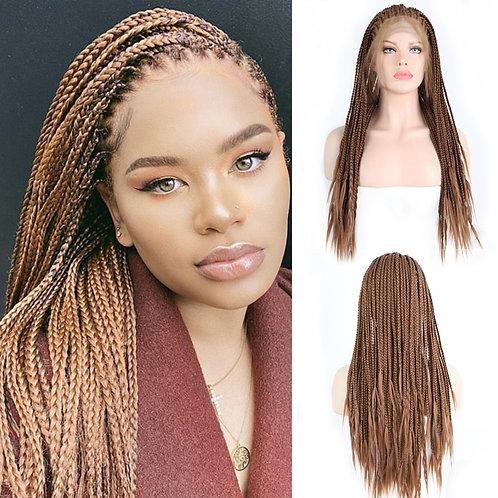 Brown Hair Wigs Braided Box Braids Wig With Baby Hair