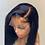 Thumbnail: Jet Black Blunt Cut Short Bob for Black Women  Lace Front Synthetic Wigs