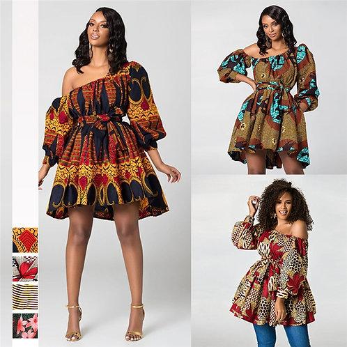 Tilting Shoulder Two Wear Dashiki Africa Style Print