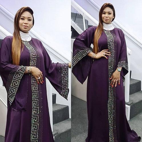 Dashiki Dress Silk Beading Abaya Bandage Maxi