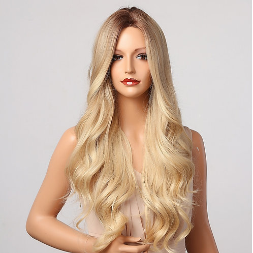 Ombre Brown Blonde Wig Long Wavy Middle Part