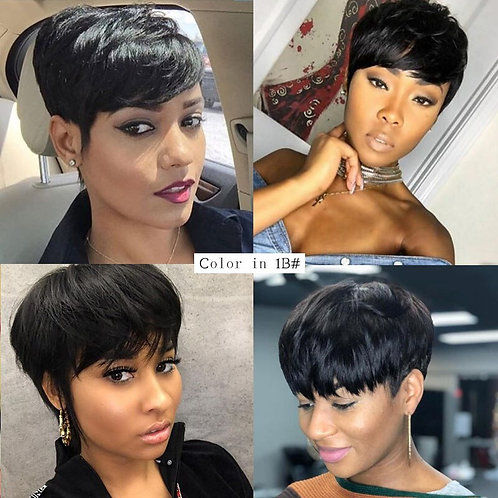 Short Cut Straight Hair Wig Peruvian Remy Human Hair