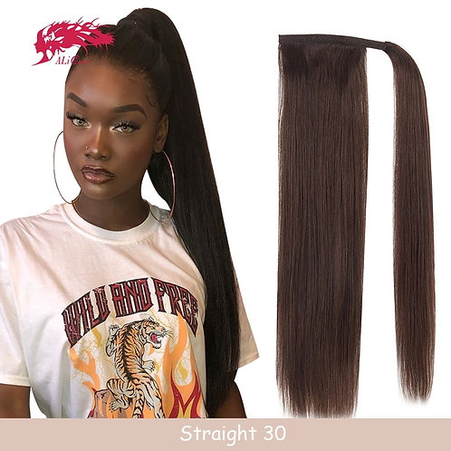 Drawstring Ponytail With Clip in Human Hair