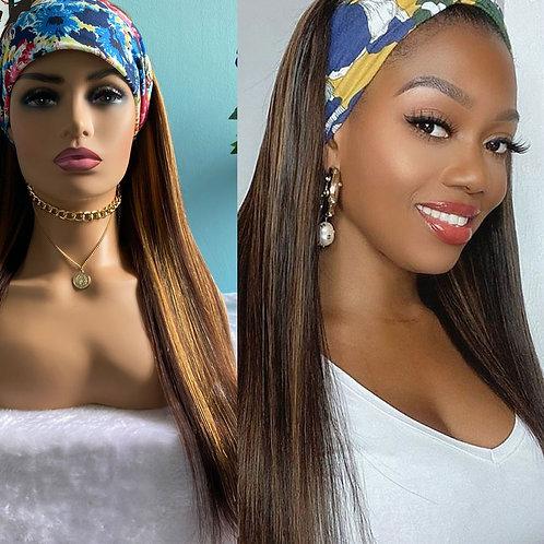 Headband Wig Straight Highlight Ombre Honey Blonde 250 Density