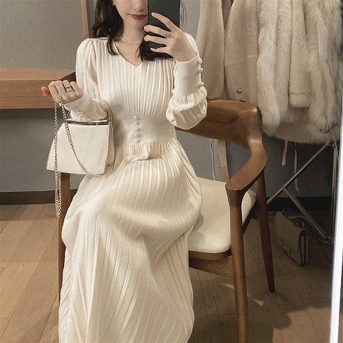 Vintage Elegant Office Sweater Dress Female