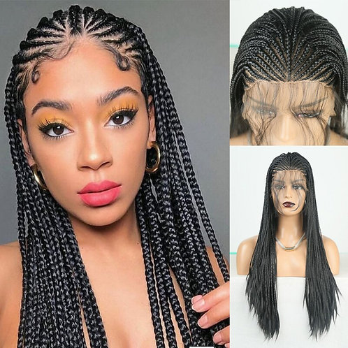 Long Braided Box Braids Wig Black Hair Synthetic