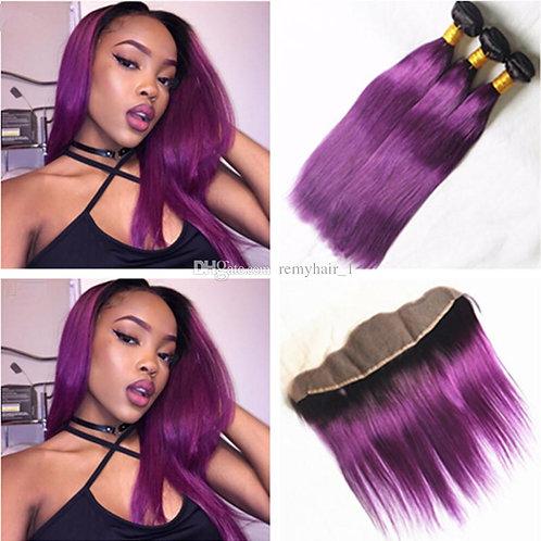 Purple Two-Tone Straight Hair Bundles