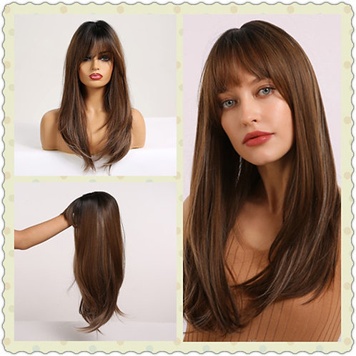 Straight Wigs With Bangs Black to Brown Ombre Synthetic Wigs