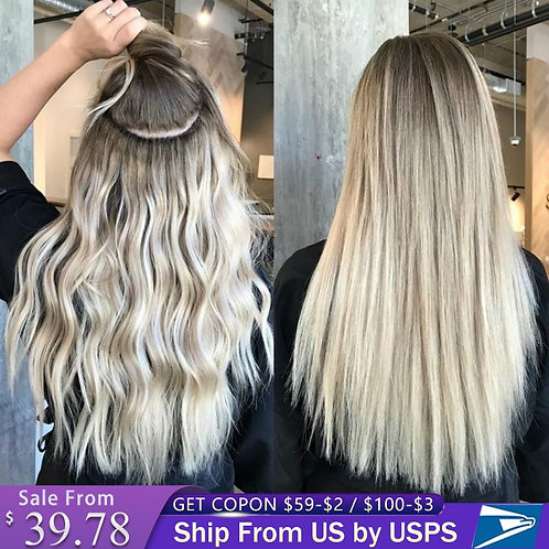 Clip in Human Hair Extensions Full Head Remy Hair
