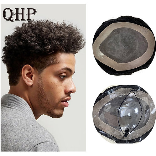 Mens Toupee Afro Kinky Curly Replacement Hair