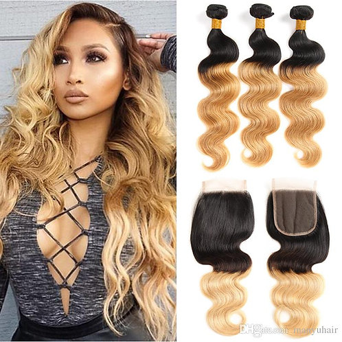 Honey Ombre Bundles with Closure