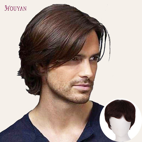 Man's Wig Hair Topper Top Toupee 100%