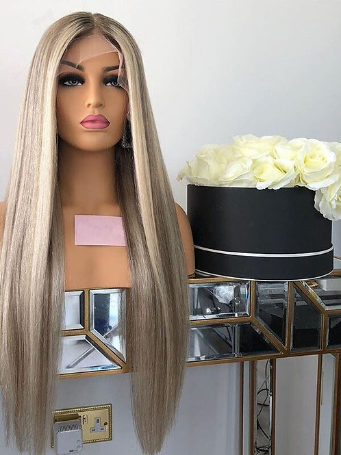 Silky Straight Lace Front Wig Grey Blonde  Human Hair Wig