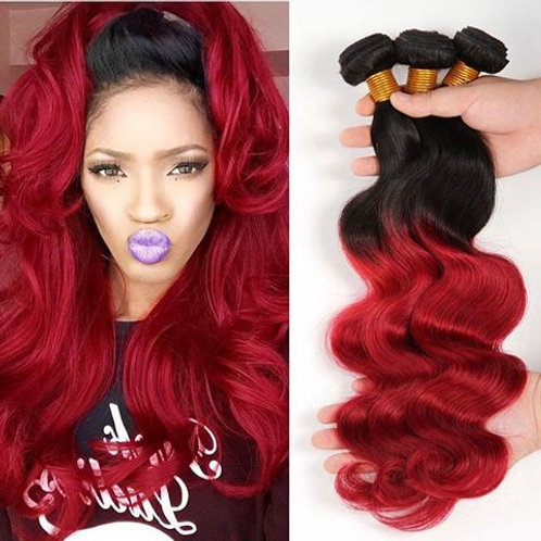 Ombre Red Body Wave Hair Bundles