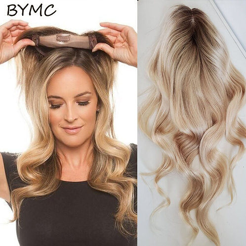 Ombre Blonde Human Hair Body Wave Topper Wig