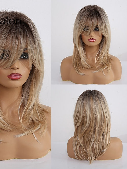 Layered Hairstyle Ombre Black Brown Blonde Gray Ash Full Wigs With Bangs