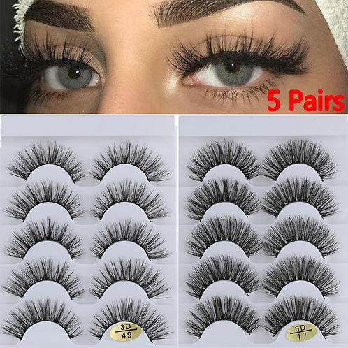 5 Pairs 3D Faux Mink Hair  Wispies Fluffies Drama