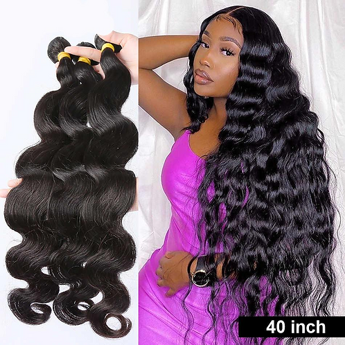 Body Wave 28 30 32 40 Inch Remy Brazilian Hair Weave Bundles Natural Color 100%