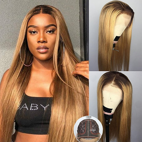 Ombre Blonde Colored Lace Wigs Straight Human Hair Wig