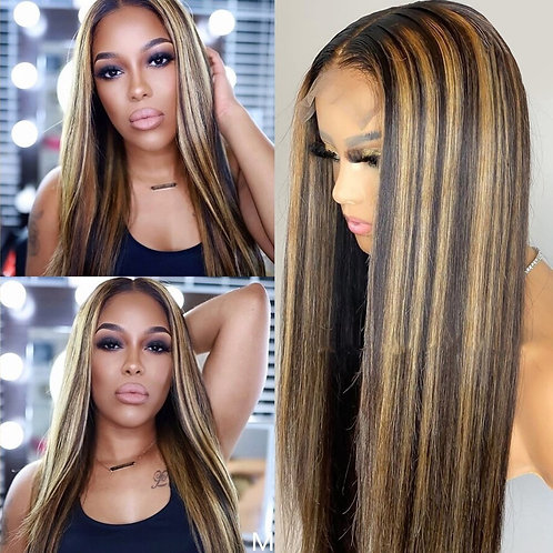 Lace Front Human Hair Wigs T Part 180% Ombre Brazilian Remy Wig